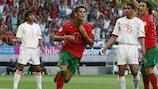 Cristiano Ronaldo festeja o golo frente à Holanda em 2004
