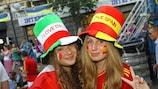 La Fan Zone de Kiev antes de la final de la UEFA EURO 2012