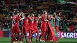 Portugal celebra su triunfo sobre Bosnia y Herzegovina en 2011