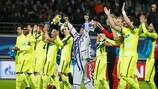 Gent feiert das Erreichen des Achtelfinals der UEFA Champions League