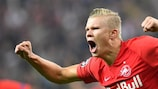 Erling Braut Haaland celebrates the first of his three against Genk