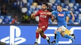 Mohamed Salah in action during Liverpool's matchday one loss at Napoli