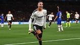 Rodrigo wheels away after scoring Valencia's matchday one winner at Chelsea