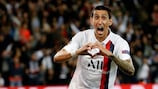 Ángel Di María celebrates one of his two goals for Paris against former club Real Madrid on Matchday 1