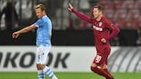 Ciprian Deac celebrates scoring for CFR Cluj against Lazio on Matchday 1