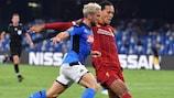 Napoli's Dries Mertens (left) puts Liverpool defender Virgil van Dijk under pressure on Matchday 1