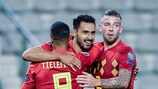 (L-R) Youri Tielemans of Belgium, Nacer Chadli of Belgium, Toby Alderweireld of Belgium during the UEFA EURO 2020 qualifier group I match between Belgium and San Marino at the King Baudouin Stadium on October 10, 2019 in Brussels, Belgium(Photo by ANP Sport via Getty Images)