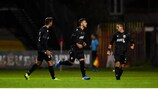 2 October 2019; Antonis Gaitanidis of PAOK, centre, celebrates after scoring his side's first goal during the UEFA Youth League First Round First Leg between Bohemians and PAOK at Dalymount Park in Dublin. Photo by David Fitzgerald/Sportsfile