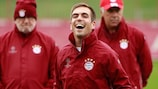 Crisis? What crisis? Philipp Lahm in training with Bayern