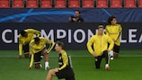 Dortmund beim Abschlusstraining in Prag