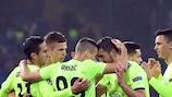 Dinamo Zagreb players celebrate at Shakhtar