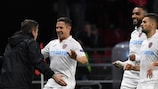 Ciprian Deac enjoys the moment after scoring CFR Cluj's winner at Rennes