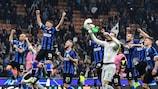 Inter celebrate victory against Dortmund