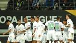 Wolfsburg feiert ein Tor gegen Gent