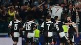 Juventus celebrate during their Matchday 2 win against Leverkusen