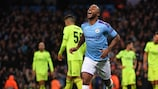 Raheem Sterling celebrates after scoring for Manchester City at home to Dinamo on Matchday 2