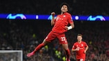 Bayern's Serge Gnabry celebrates one of his four goals at Tottenham