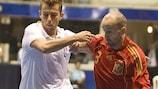 Spain's Javi Eseverri (right) takes on Italy's Carlos Morgado