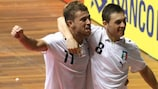 Saad Assis (right) celebrates his third-place match winner against Russia with Carlos Morgado