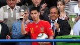 Spain striker Daniel Pacheco receives the top scorers' trophy