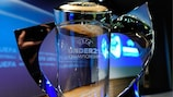 The UEFA European Under-21 Championship trophy on display ahead of the 2013 qualifying draw in Nyon
