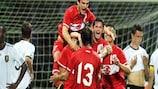 Turkey celebrate their winner against Germany