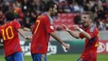 Adrián celebra el gol anotado ante Ucrania