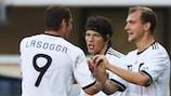 Germany's double goalscorer Pierre-Michelle Lasogga (left) takes the plaudits