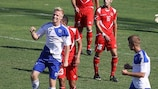 Lauri Dalla Valle celebrates after opening the scoring against Malta