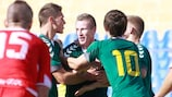 Lithuania celebrate one of their two goals in Gozo