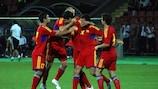 Armenia celebrate after scoring against Andorra