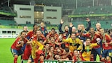 Spain celebrate after winning their sixth Under-19 title