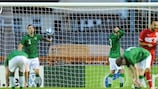 Ireland players show their disappointment after conceding with six minutes left