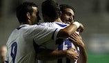 Eyal Golasa, Mohammed Kalebat and Munas Dabbur celebrate a goal in Israel's win against Belarus