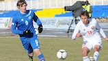 Iceland goalscorer Jón Dadi Bödvarsson closes down Belarus's Maksim Volodko