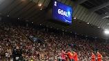 A Espanha celebra após marcar na final