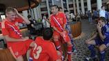 Os jogadores russos mostraram descontracção antes do desafio de quinta-feira