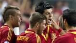 Álvaro Morata congratulato dai compagni