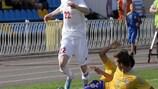 Yuri Kovalev of Belarus moves forward during the game against Kazakhstan
