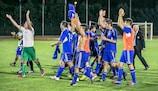 San Marino celebra su histórico triunfo por 1-0 ante Gales