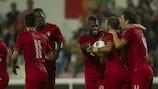 Portugal festeja um dos golos na vitória de abertura sobre a Noruega por 5-1
