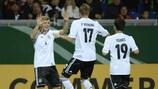 Philipp Hofmann (No17) celebrates putting Germany ahead