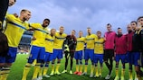 Die schwedischen Spieler vor dem Halbfinale gegen Dänemark
