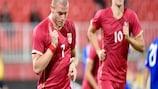 Il serbo Ognjen Ožegović festeggia un gol contro Andorra