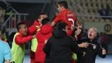 Македонцы празднуют гол в решающем матче с Шотландией