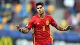 """O espanhol Marco Asensio juntou-se ao restrito grupo de jogadores que apontaram """"hat-tricks"""" em fases finais do EURO Sub-21"""