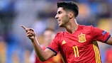Marco Asensio after scoring against FYR Macedonia