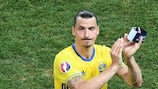 Zlatan Ibrahimović scored Sweden's opener in their last competitive game with Slovakia