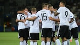 Germany celebrate during their victory over Denmark