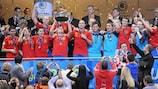 Spain captain Javi Rodríguez lifts the UEFA European Futsal Championship trophy